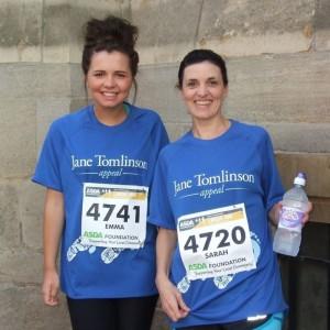 Sarah and Emma Finishing JT 10K Race