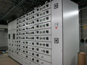 A mains distribution panel and transformer